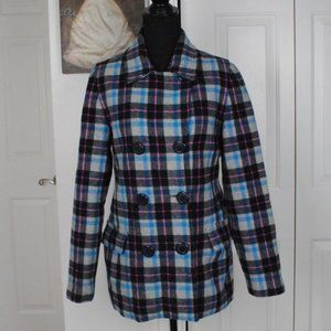 Delias Small Pea Coat Pink and Blue Gingham EUC